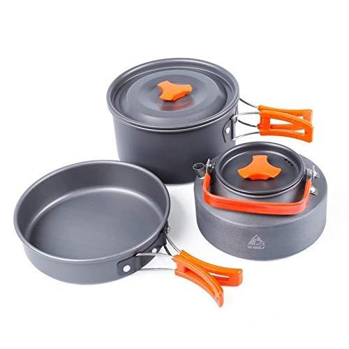 Zhouzl Produits de Camping Hewolf 1692 Pots de Vaisselle de Camping en Plein air for vêtements de Cuisine for 2-3 Personnes Produits de Camping