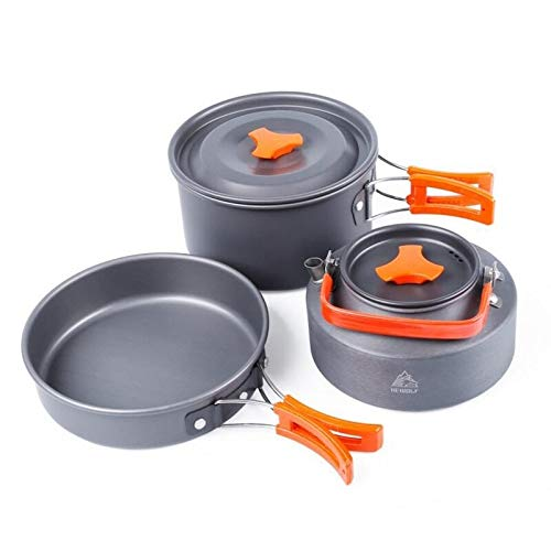 Zhoutao Juego de Utensilios de Cocina for ollas for vajilla for Acampar al Aire Libre Hewolf 1692 for 2-3 Personas