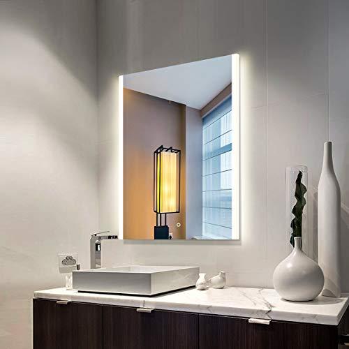 Specchio retroilluminato a LED Illuminato Specchio da bagno con Funzione antiappannamento,Montaggio a parete frameless Specchio per il trucco con la luce Specchio decorativo per la casa
