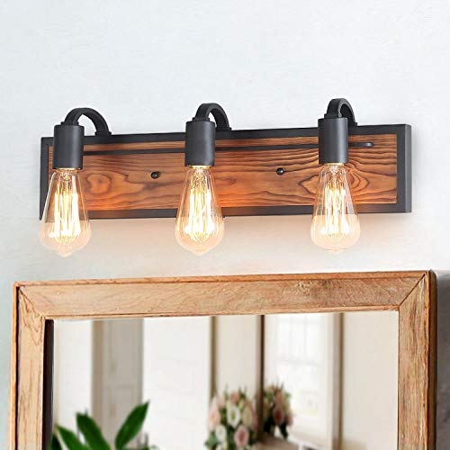 LNC A03440 Bathroom Lighting Fixtures Over Mirror Wooden Farmhouse Vanity Sconce Rustic -