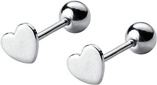 2Pcs 20G Love Heart Cartilage Earrings Sterling Silver Tragus Helix Barbell Piercing Studs for Women Girls