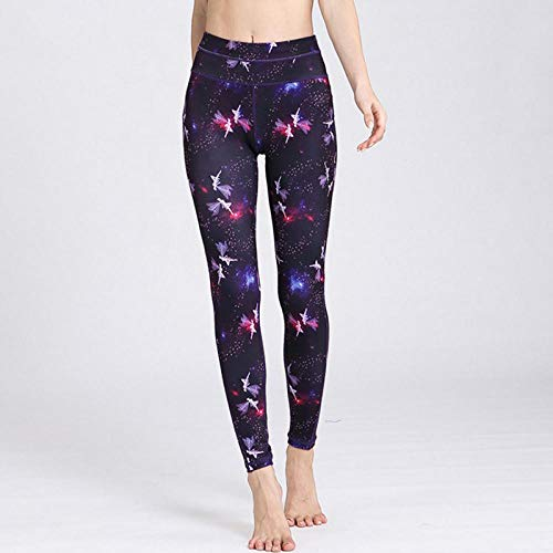 QUANWU Vibrerende Zuid-Korea lente en herfst sportschool yoga kleding sportpanty stretch snel droog afdrukken stappen voeten broek lopen XL_Purple elf