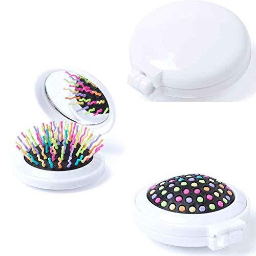 Lote 20 unidades Cepillo del pelo plegable con espejo para bolso. Regalos para invitados Boda, Comunión, Bautizo. Detalles para eventos.