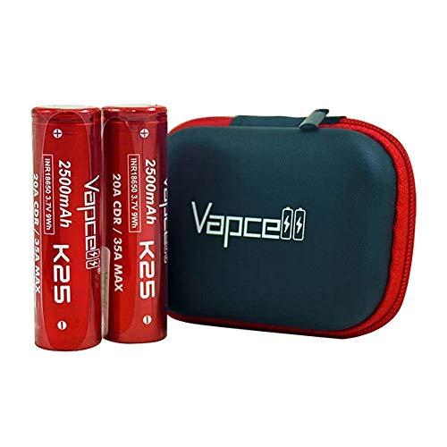 【PSE取得】リチウムイオン電池 Vapcell INR 18650 20A/35A 2500mAh 2本+純正ソフトバッテリーケースセット【VAPE用バッテリー】