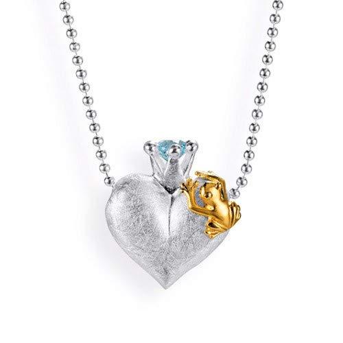 Drachenfels kleiner Herzanhänger mit Topas | Kollektion Froschkönig | Eleganter Anhänger in Echtsilber | Herzform Anhänger aus 925 Sterling Silber für Damen