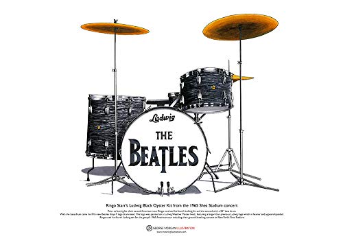 George Morgan Illustration Batería Ludwig de Ringo Starr del Concierto de Shea...