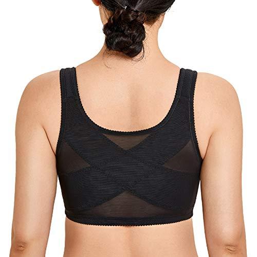 LAUDINE Women's Cotton Plus Size Front Closure Wireless Support Posture Bra Black 54E