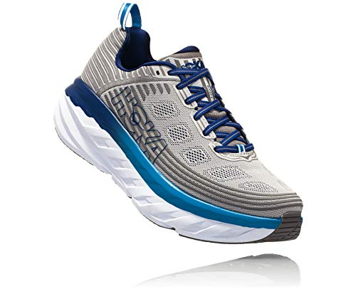 HOKA ONE ONE Mens Bondi 6 Blue/Frost Gray Running Shoe - 10