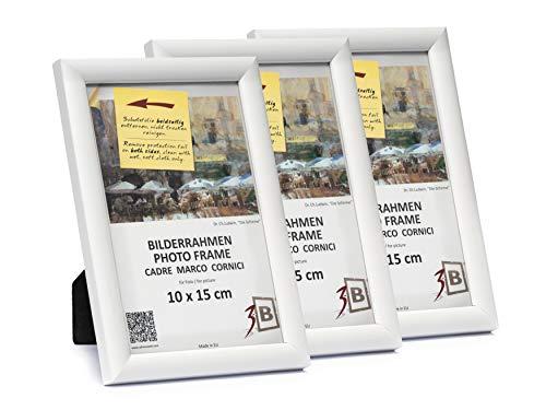 3B Conjunto de 3 Piezas ULM Marco – Blanco - 10x15 cm - Madera sólida Marcos, Marcos de Fotos