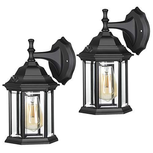DEWENWILS Paquete de 2 lámparas de pared para exteriores, pantalla de cristal transparente, casquillo E26, luz de porche negra, antioxidante y resistente a la intemperie, accesorios de luz exterior para patio, garaje, entrada, ETL
