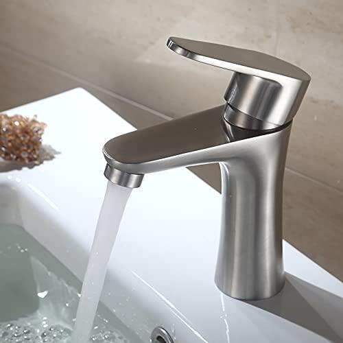 Dolinvo Wasserhahn Bad für Badezimmer mit Abnehmbarer Perlator Wasser Sparen Edelstahl Gebürstet Matt Anti Fingerabdruck Waschtischarmatur Hochdruck mit Standard G3/8 Schläuchen Korrosionsbeständig