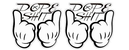 Dope Shit Aufkleber Oldschool Micky Maus Hände Marihuana Pot Joint Sticker / Plus Schlüsselringanhänger aus Kokosnuss-Schale / Auto Motorrad Laptop Notebook Tuning Racing Motorsport
