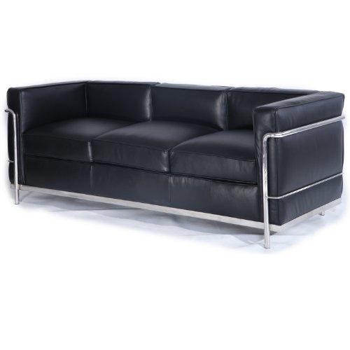 Kardiel Le Corbusier Style LC2 Divano 3 Posti, Pelle Anilina Nera