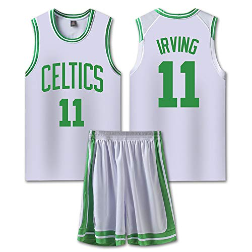 HQAZ Basketball Irving Trikots Sets für Mans, Boston 11#, Team Training Uniform Mesh Sleeveless Top Shorts Pullover, Outdoor Sports Top + Kurz #4- Adult 4XL