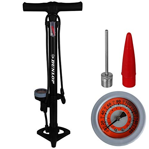 Dunlop - Bomba de Aire de pie para Bicicleta con manómetro para Todas Las válvulas