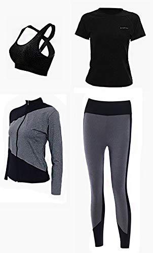 AFDLT Damen Joggingbekleidung für Yoga, Outdoor, Sport, elastische Streifen, Fitnesskleidung, Freizeitkleidung, hohe Taille, Leggings, 4-teiliges Set, Schwarz , XL