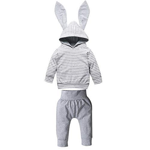 Baywell Baby Boy Girl Herbst Langarm Kaninchen Ohr Kapuzen Sweatshirt Bleistift Hose zwei Stück Sets