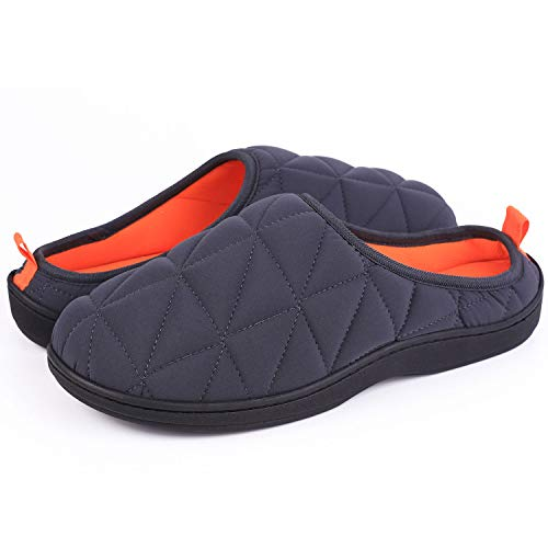 Men's Memory Foam House Slippers Warm Cozy Down Quilted Slide House Shoes Sport or Camping (Large / 11-12 D(M) US, Dark Gray/Vibrant Orange)