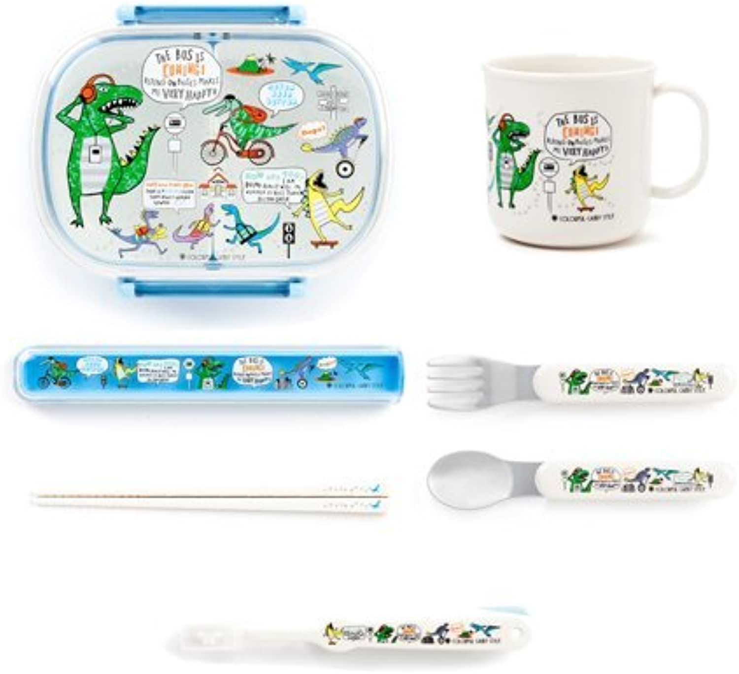 Good friend friends' six Smile lunch goods set I large- a dinosaur town. Made in Japan N5802960