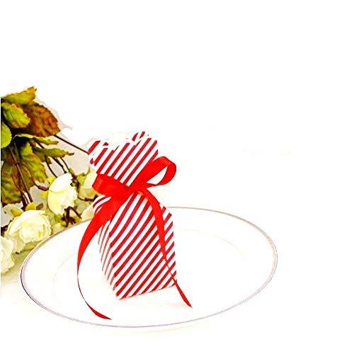 JZK 50 x Blanco rojo rayas caja favor cajitas regalos para boda detalle cumpleaños fiesta bautizo navidad para arroz bombones dulces caja