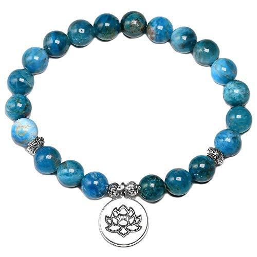 XIAOYAN Pulseras de Chakras de Piedra de apatita Azul Natural para Mujer, Pulsera de Cuentas de 8 Mm para Hombres, Encanto de Loto de meditación de Yoga de energía