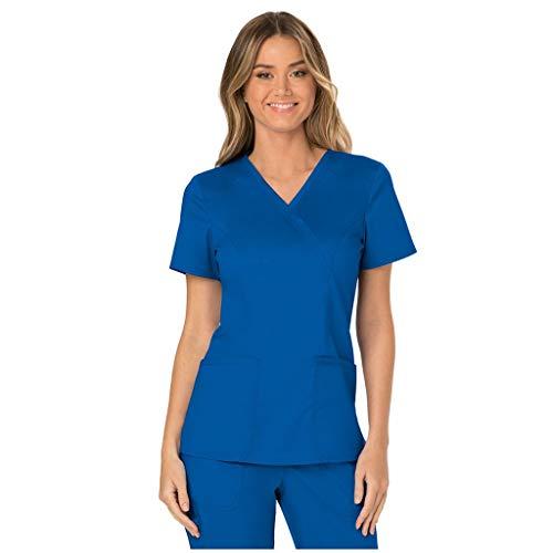 Zilosconcy Arbeitskleidung Unisex Kurzarm T-Shirt Tops V-Ausschnitt Pflege Arzt Uniform Berufsbekleidung Krankenschwester Kleidung Damen Uniformen Oberteil mit Tasche BlauM