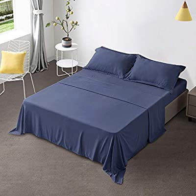 "Gonk Navy Blue Sheet Set Full Size Sheet Sets 4 Pieces 100% Durable Brushed Microfiber Sheets with 16"" Deep Pocket Soft Breathable Wrinkle Free & Fade Resistant Bed Sheets and Cooling Sheets"