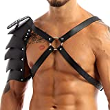 YiZYiF Mens Pauldron Leather One Shoulder Armor Harness Muscle Body Chest Belts Clubwear Black One Size