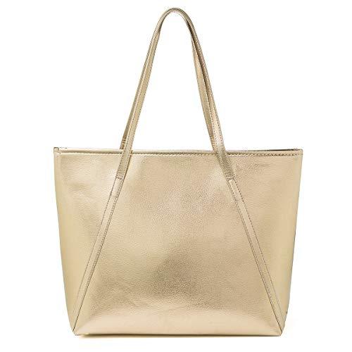 PU Leder Handtasche Damen Gross, OURBAG Schultertasche Damen Handtasche Silber rosa metallic Shopper Champagnerfarbe
