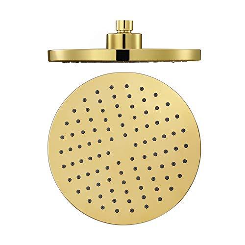 Shower Set 8 Pulgadas Alcachofa de Ducha Alta Presiòn Cabezal de Ducha Función única Placa de Ducha ABS Ronda Alcachofa Ducha,Titanium Gold