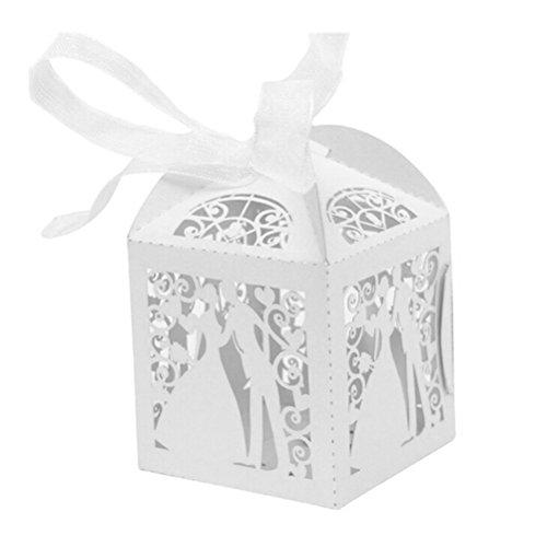 JZK® 50 x Braut und Bräutigam, Süßigkeiten Bonbons Schachtel Schokolade Kartons kleinen Schmuck Geschenkbox Gastgeschenk Bonboniere Geschenk Box, Dekoration Tischdeko Party Favor für Hochzeit Taufe Party Geburtstag etc. (Bonbon Schachtel 4)