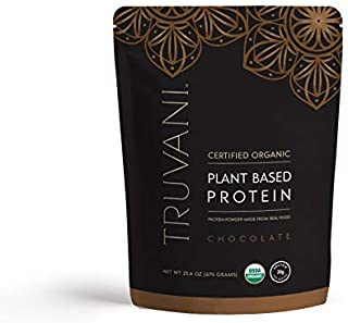 TRUVANI - Plant Based Protein Powder - USDA Certified Organic Protein Powder, Vegan, Non-GMO, Gluten Free Protein Powder | Perfect for Rebuilding & Refuelling Muscles | 670 Grams - Chocolate