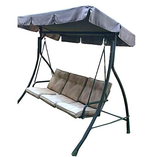 Garden Winds Replacement Canopy Top Cover for The HD Flat Roof 3 Person Swing - Standard 350 - Brown
