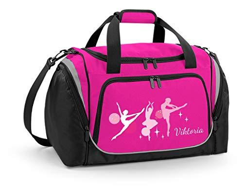 Mein Zwergenland Sporttasche Kinder personalisierbar mit Schuhfach, Kindersporttasche 39L mit Name und Ballerina Bedruckt in Pink