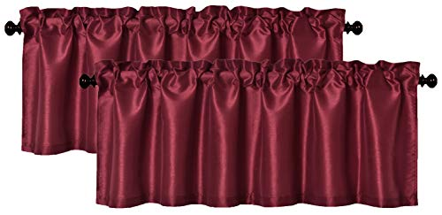 Aiking Home (Pack of 2) Solid Faux Silk Window Valance, 56 by 16 Inches, Burgundy