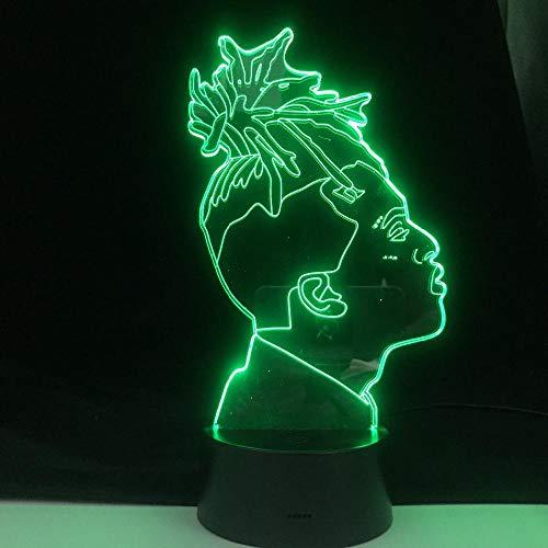 Señoras regalo famoso rap cantante 3D luz LED ilusión 16 color cambiante mesa noche luz bebé noche decoración lámpara erjie
