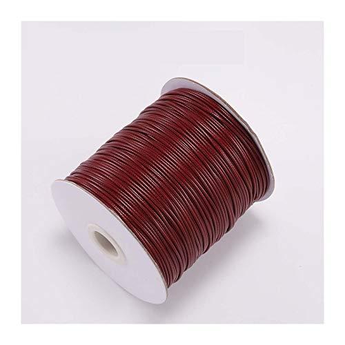 QQINGHAN 10m Dia 1.0-2.0mm Cordón de algodón Encerado Cordón de Hilo Encerado Correa de Cadena Collar Cuerda de Cuerda DIY Joyería Maquilla para el Collar de Pulsera (Color : Wine Red, Size : 1.0mm)