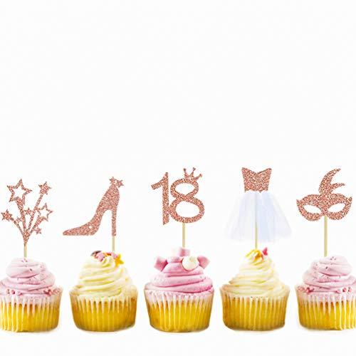 32 Stück Rose Gold Glitter 18 schöne Geburtstagsparty-Dekorationen Cupcake Topper Kit mit Figur 18, Maske, High Heel, Sterne, 3D-Tüll Kleid Cupcake Topper für 18 Party Geburtstag Kuchen Dekoration