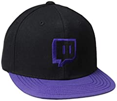 Flat brim cap, with purple Glitch embroidery on front. Purple top brim with clear gloss/black emote regex print on the under brim. Adjustable plastic snap. Do not wash, bleach, or iron. Spot clean only. Snapback 80% Acrylic, 20% Wool
