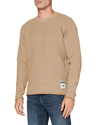 Scotch & Soda Mens Slightly oversized Island Knit Pullover Sweater, Natural Cloth 3600, M
