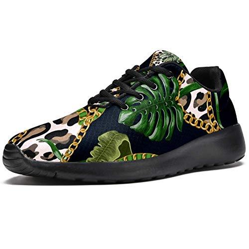 TIZORAX Sport Laufschuhe für Frauen Tropische Blätter auf Leopard mit Kette Mode Sneakers Mesh Atmungsaktiv Walking Wandern Tennis Schuh, Mehrfarbig - mehrfarbig - Größe: 39 EU