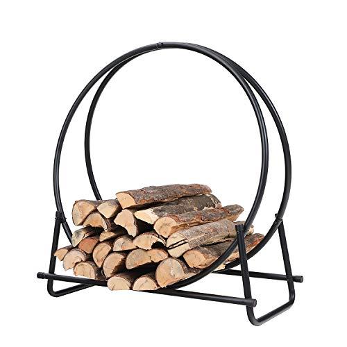 PHI VILLA 30 Inch Log Hoop Firewood Rack Fireplace Wood Storage Holder, Indoor/Outdoor Heavy Duty Iron Black