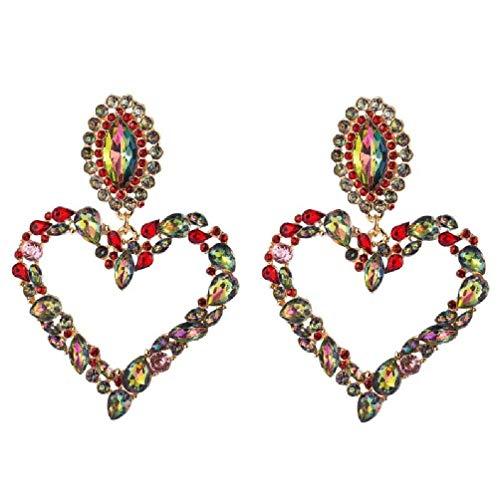 KunmniZ Brillante arcoíris de Cristal de Diamantes de imitación corazón Grande Colgante Pendientes Babero Pendientes llamativos joyería de Moda para Mujer Kit de Pendientes