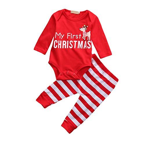 T TALENTBABY My 1st Christmas - Juego de ropa para recién nacidos de manga larga + pantalones + diadema