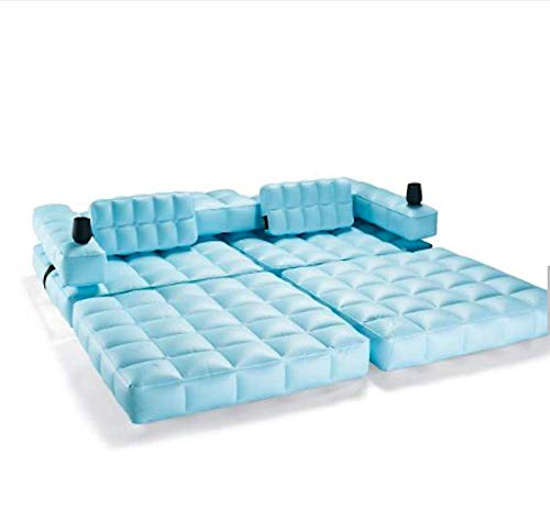 Pigro Felice - Modul'Air 3-in-1 Pool - Aufblasbare Doppel-Sonnenliege - Luftmatratze - Bank - Widerstandsfähige Materialien - Lange Lebensdauer - Premium - Wasserblau