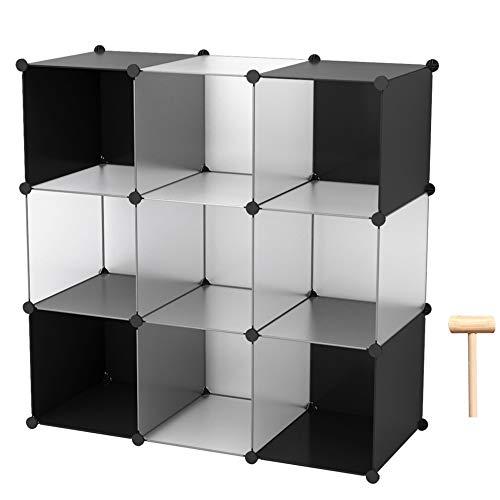 C&AHOME Cube Storage Organizer, 9-Cube Shelves Units, Closet Cabinet, DIY Plastic Modular Book Shelf, Ideal for Bedroom, Living Room, Office, 36.6' L x 12.4' W x 36.6' H White Cross