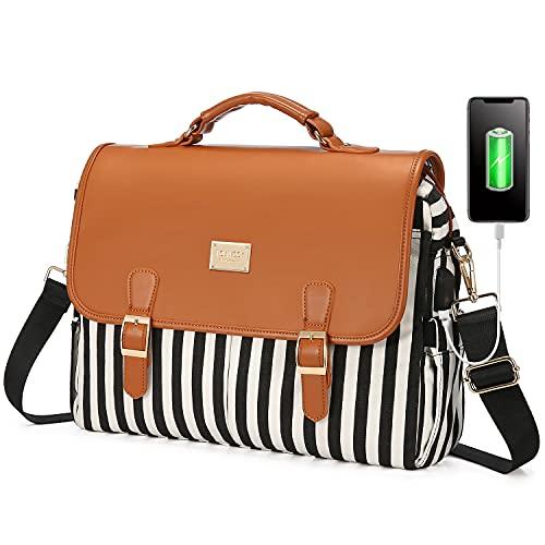 LOVEVOOK Laptop Bag for Women, Large Capacity Computer Bags Cute Shoulder Messenger Bag, Business Work Bags Tote Briefcase Purse Laptop Sleeve Case, 15.6inch, Black Stripe Brown Pro