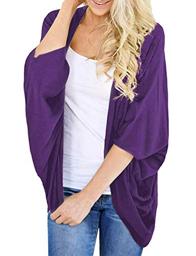 Women's Light-Weight Cardigan Kimono Cover-up Casual Loose Shrug (Purple, XL)