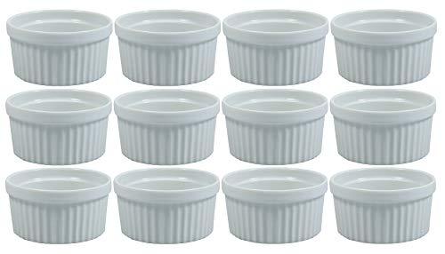 Viva Haushaltswaren - 12 x weiße Auflaufform aus Porzellan, kleine Kuchenform für Creme Brulee und als Dip- und Snackschale verwendbar