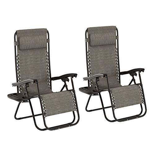 Lavish Home 257422JUJ Zero Gravity Lounge Chairs, Gray